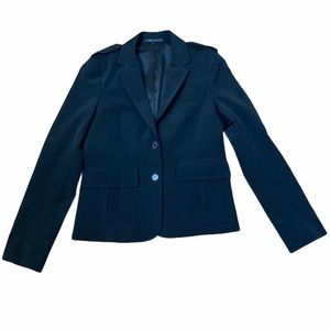Theory Blk Fitted Blazer With Front Patch Pockets